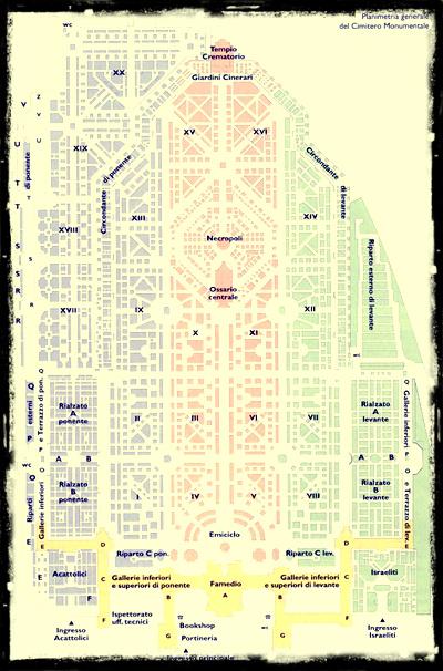 Mappa Cimitero Monumentale Milano