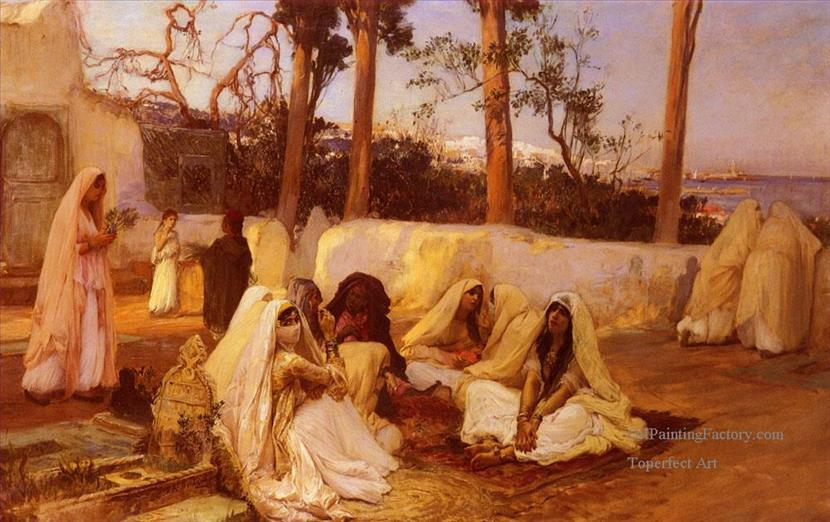 8-Women-At-The-Cemetery-Algiers-Egyptian-Arabian-Frederick-Arthur-Bridgman