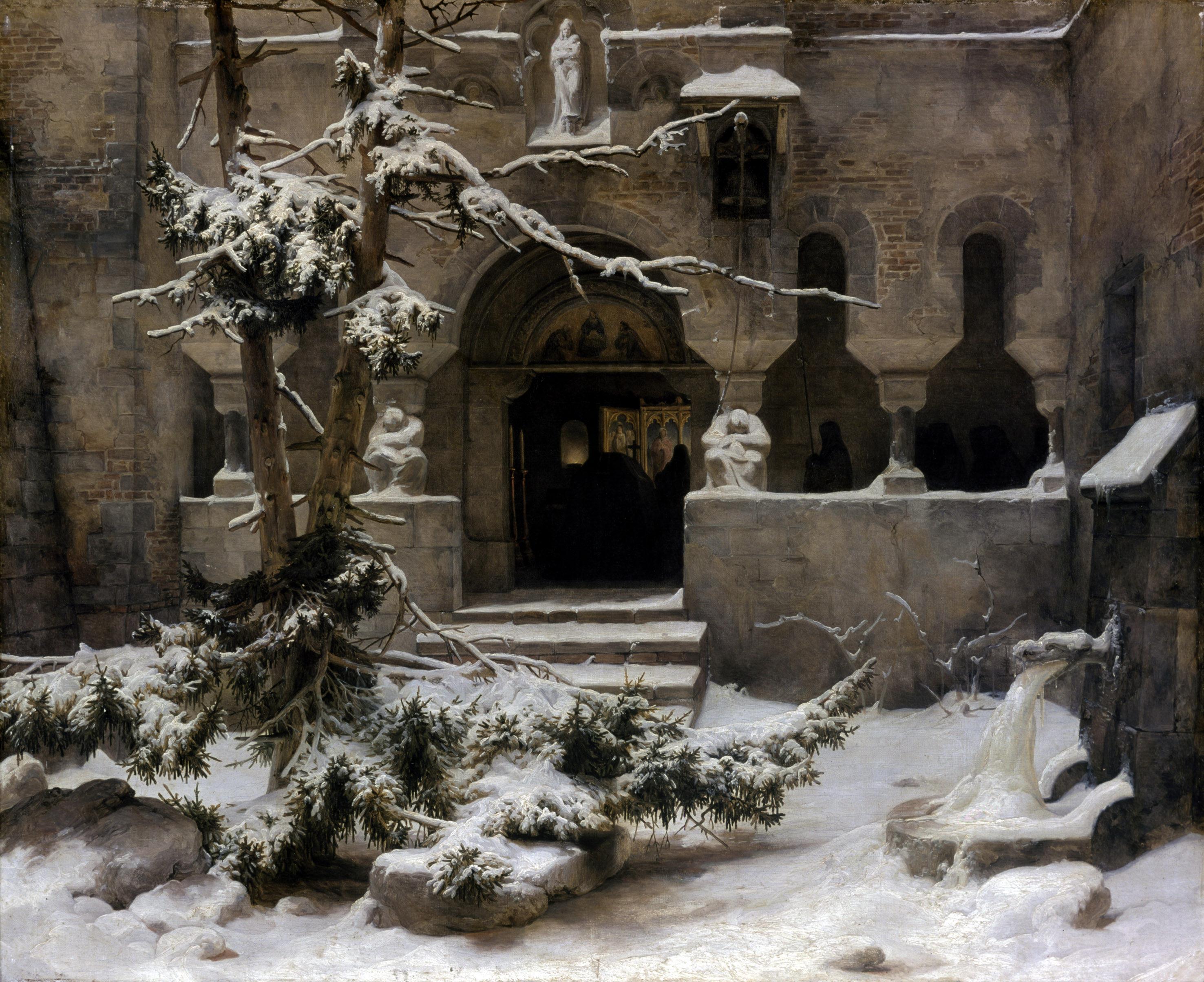 Carl Friedrich Lessing: Klosterhof im Schnee